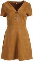 Lucy Paris Brown Lace-Up Jaida A-Line Dress