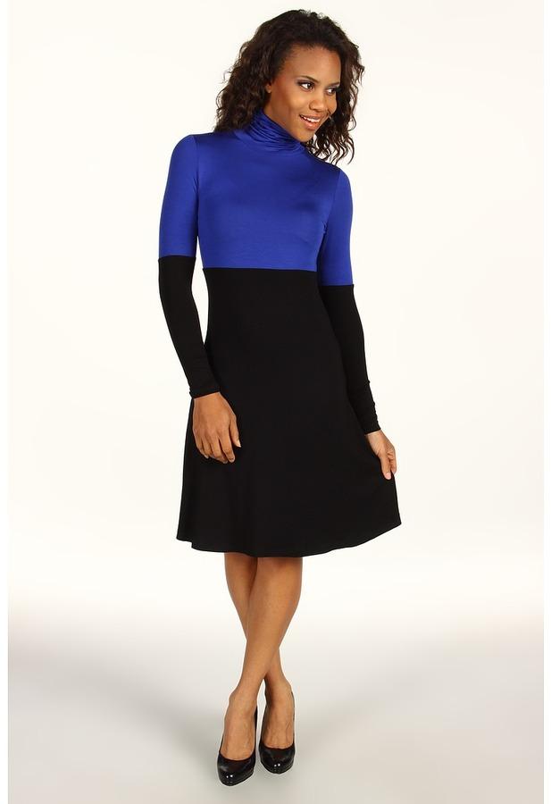 Karen Kane Rayon Spandex Jersey Color Block Turtleneck Dress (Black/Blue) - Apparel