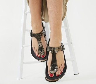 Birkenstock Toe Thong Footbed Sandals Gator Gleam Black