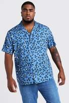 BoohoomanBoohooMAN Mens Purple Big & Tall Leopard Revere Collar Shirt, Purple