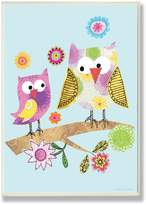 Stupell Industries The Kids Room by Stupell Whimsy Multicolor Owls on a Branch Rectangle Wall Plaque
