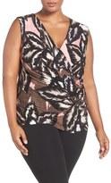 Nic+Zoe Plus Size Women's 'Aloha' Print Faux Wrap Top