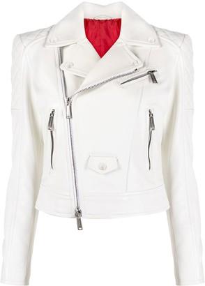 DSQUARED2 Diamond-Quilting Zip-Up Biker Jacket