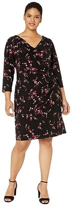 Lauren Ralph Lauren Plus Size Floral Pleated Jersey Dress (Black/Parlor Red/Multi) Women's Dress