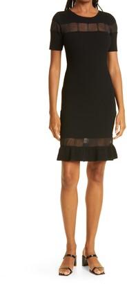 Sheer Inset Ribbed Dress