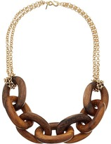 Kenneth Jay Lane Wood Links Necklace with Polished Gold Chain