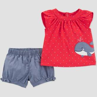 Carter's Just One You made by carter Toddler Girls' 2pc Chambray Whale Embroidered Top and Bottom Set - Just One You® made by Red/Blue