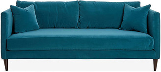 One Kings Lane Michelle Sofa - Peacock Velvet - frame, espresso; upholstery, peacock