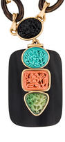 Oscar de la Renta Resin & Wood Pendant Necklace