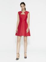 Halston Geo Neck Silk Faille Dress