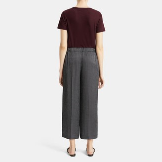 Theory Drawstring Wide-Leg Pant in Double Stripe Silk