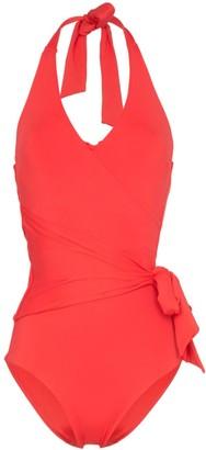 Onia Elena halterneck tie-waist swimsuit