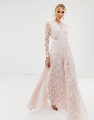 Asos Design DESIGN maxi dress with long sleeve and lace panelled bodice-Pink