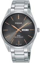 Pulsar Pulsar Grey Sunray and Rose Gold Detail DayDate Dial Stainless Steel Bracelet Mens Watch