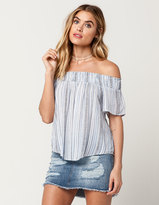 Socialite Ethnic Stripe Womens Off The Shoulder Top