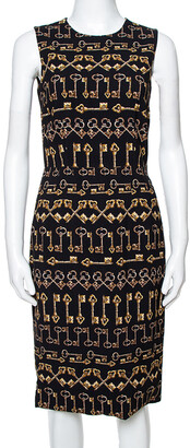 Dolce & Gabbana Black Crepe Key Print Sheath Dress S