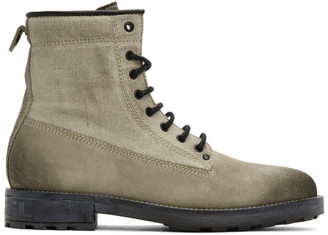 Diesel Off-White Canvas D-Throuper DBB Boots