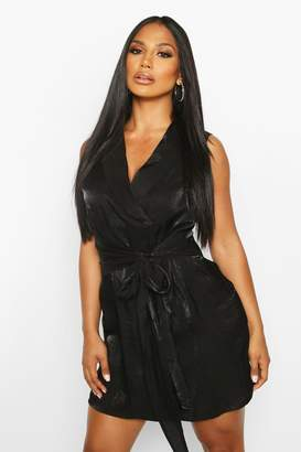 boohoo Shimmer Sleeveless Belted Blazer Dress