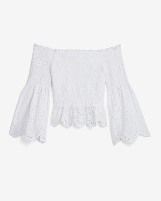 Express Off The Shoulder Smocked Eyelet Lace Bell Sleeve Top