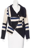 Yigal Azrouel Leather-Trimmed Striped Jacket