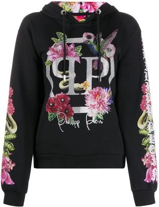 Philipp Plein Floral Embellished Hoodie