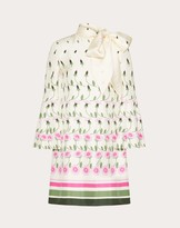 Valentino Printed Twill Dress Women Ivory/pink Silk 100% 40