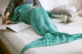 "Casofu® Mermaid Tail Blanket Crochet and Mermaid Blanket for adult,Super Soft (71""x32"", Green)"