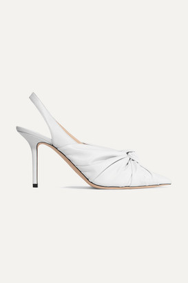 Jimmy Choo Annabell 85 Knotted Leather Slingback Pumps - White