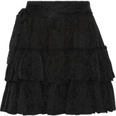 L'Agence Victoria tiered silk-jacquard mini skirt