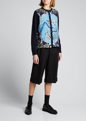 Maison Margiela Printed Wool Button-Front Cardigan