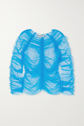 Molly Goddard Una Ruched Tulle Top - Blue