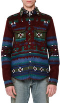 Valentino Tribal-Print Woven Shirt Jacket, Wine