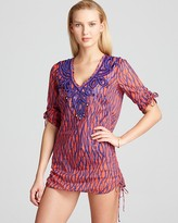 Milly Squiggle Print Limon Beaded Tunic Swimsuit Cover Up