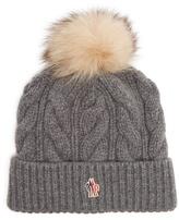 Moncler Fur-pompom wool-blend beanie hat