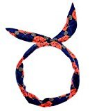 Johnny Loves Rosie Floral Statement Wired Head Scarf, Blue/ Orange
