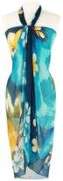 Feria Mode Floral 02 Beach Cover Up Pareo Dress Wrap Scarf Green