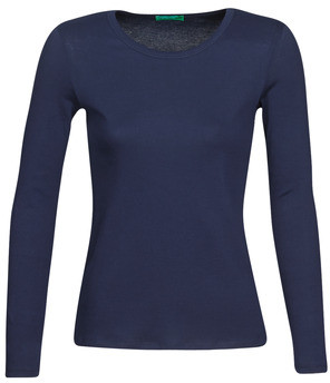 Benetton NOEMIE women's Long Sleeve T-shirt in Blue