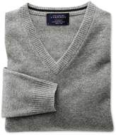 Silver Grey Cashmere V-Neck Sweater Size Large by Charles Tyrwhitt