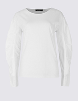 Limited Edition Pure Cotton Poplin Ruched Sleeve T-Shirt