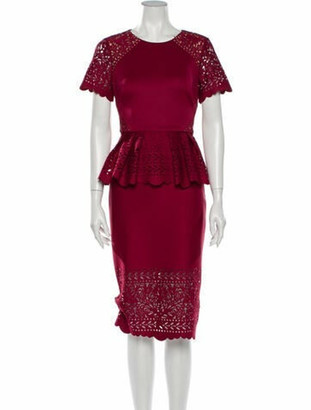 Marchesa Notte Patterned Midi Length Dress w/ Tags Red