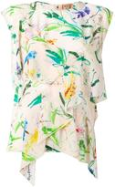 No.21 leaves print ruffled blouse