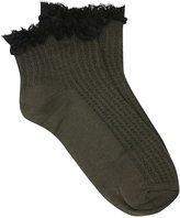 M&Co Khaki lace frill trim ankle socks