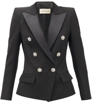 Alexandre Vauthier Crystal-button Double-breasted Wool Blazer - Black