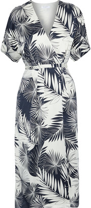 Equipment Tavine Printed Washed-silk Midi Wrap Dress