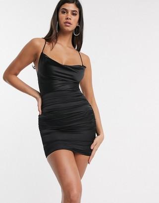 I SAW IT FIRST cowl neck ruched satin mini dress