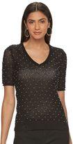 JLO by Jennifer Lopez Women's Embellished V-Neck Sweater