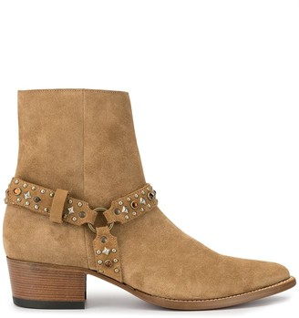 Amiri Studded Harness Ankle Boots