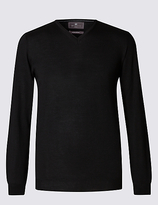 M&s Collection Merino Wool Rich Slim Fit Jumper With Silk