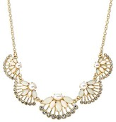 """Women's Statement Necklace Fan-Shaped Clusters - White/Gold (16"""")"""