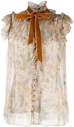 Zimmermann Floral Ruffle Silk Blouse